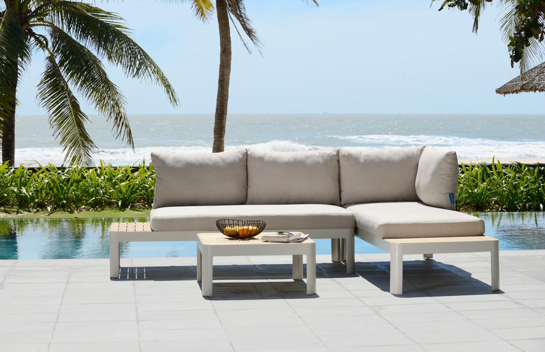 Scancom Portals 2697700044 und 2647600053 Lounge-Set korallensand / Teakholz