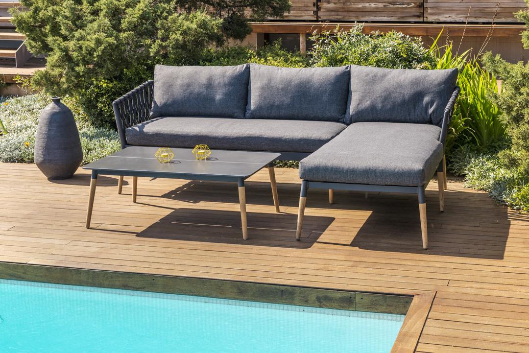 Scancom Ipanema 2803600000 und 2797200060 3-tlg. Lounge-Set dunkelgrau / Teakholz