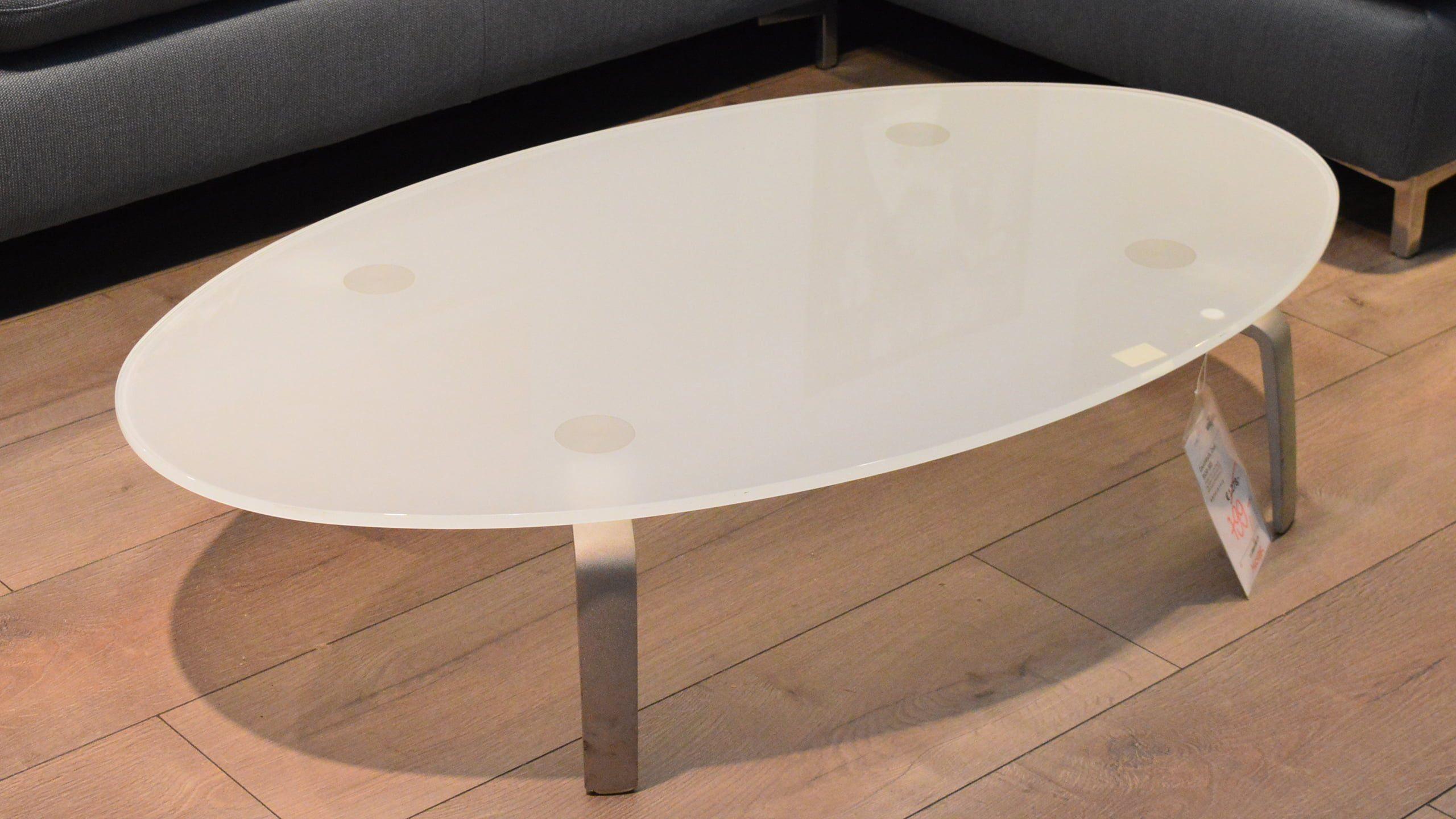 Ovaler Couchtisch 8530-303 mit Glasplatte