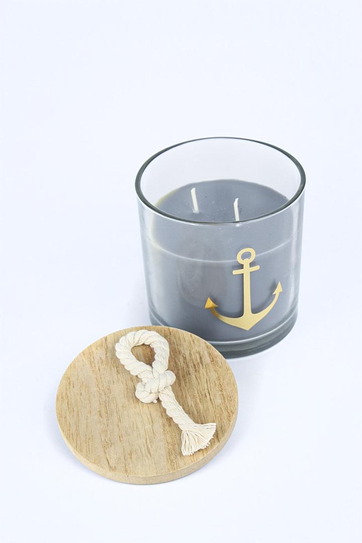 Kerzentopf Anchor 2 tlg Kerze maritim mit Anker